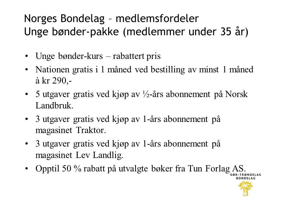 Norges Bondelag – medlemsfordeler Unge bønder-pakke (medlemmer under 35 år)