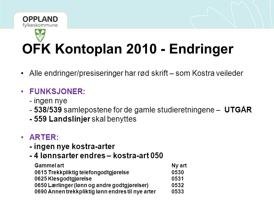 OFK Kontoplan 2010 - Endringer