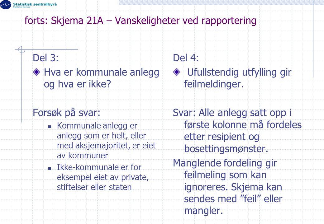 forts: Skjema 21A – Vanskeligheter ved rapportering