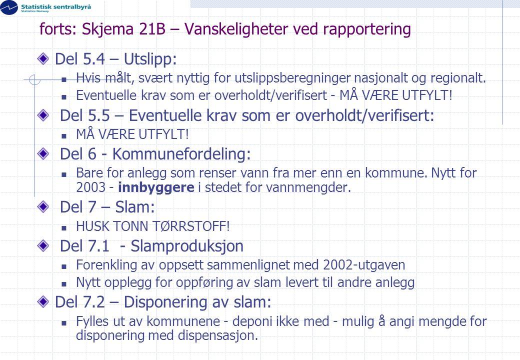 forts: Skjema 21B – Vanskeligheter ved rapportering