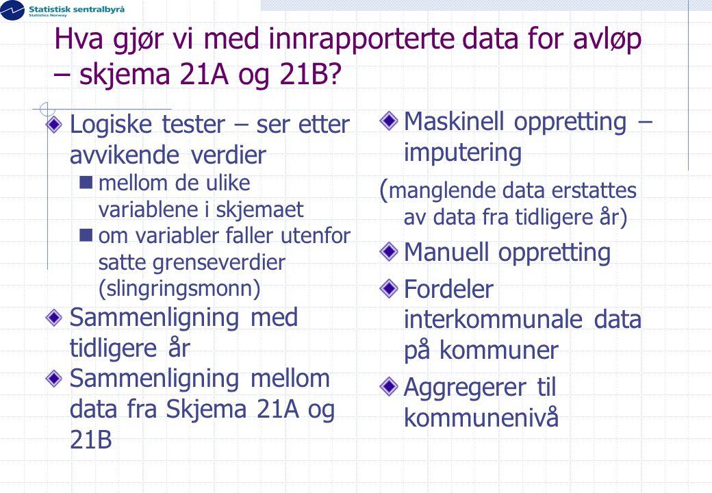 Hva gjør vi med innrapporterte data for avløp – skjema 21A og 21B