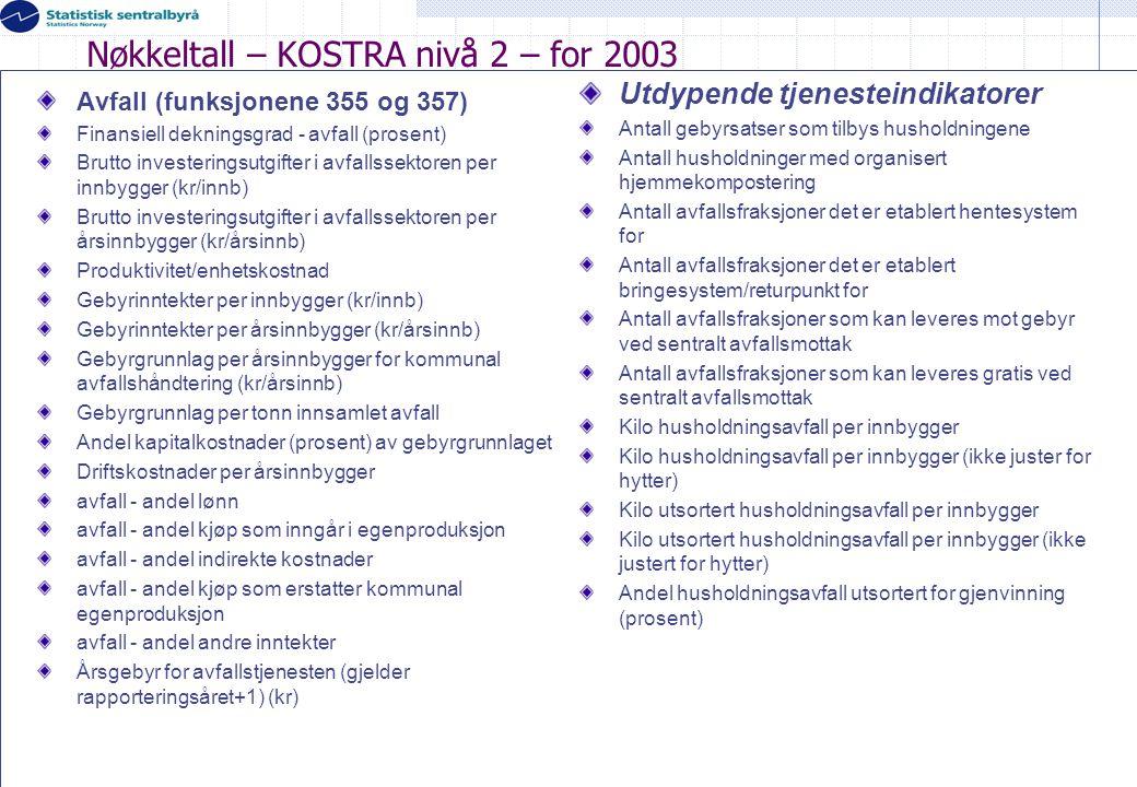 Nøkkeltall – KOSTRA nivå 2 – for 2003
