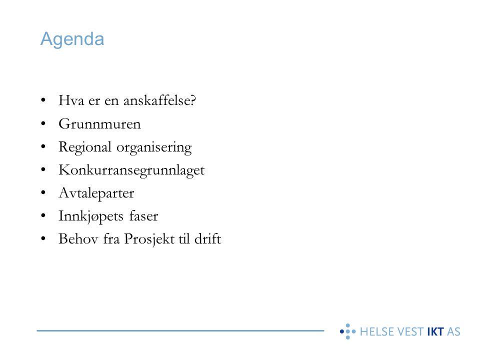 Agenda Hva er en anskaffelse Grunnmuren Regional organisering