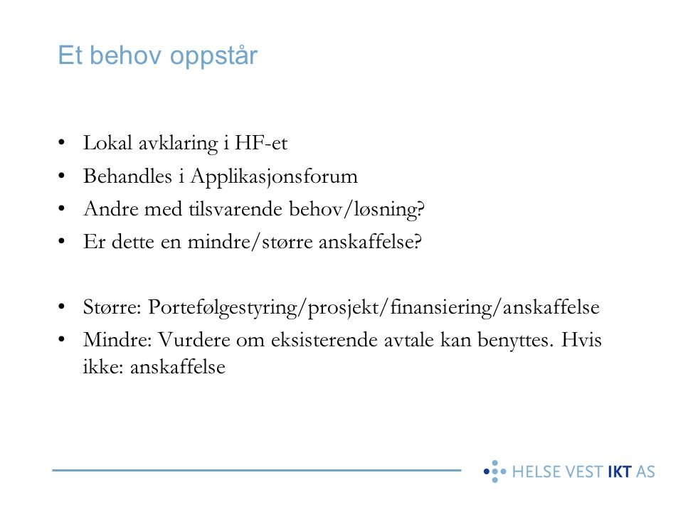 Et behov oppstår Lokal avklaring i HF-et Behandles i Applikasjonsforum