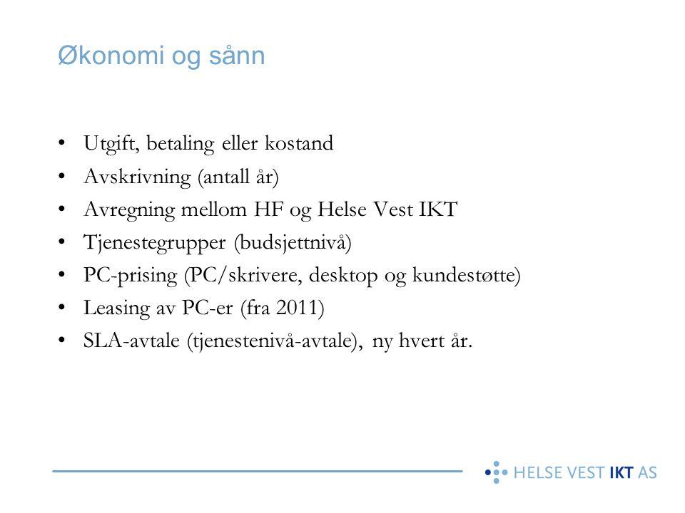 Økonomi og sånn Utgift, betaling eller kostand Avskrivning (antall år)