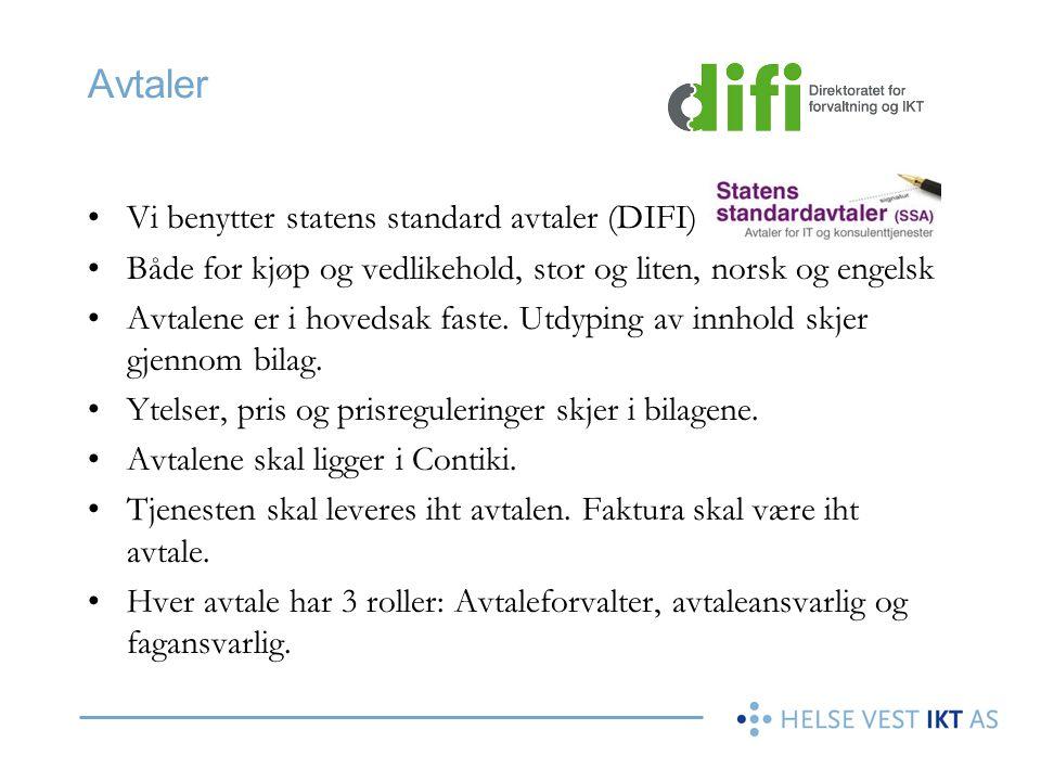 Avtaler Vi benytter statens standard avtaler (DIFI)