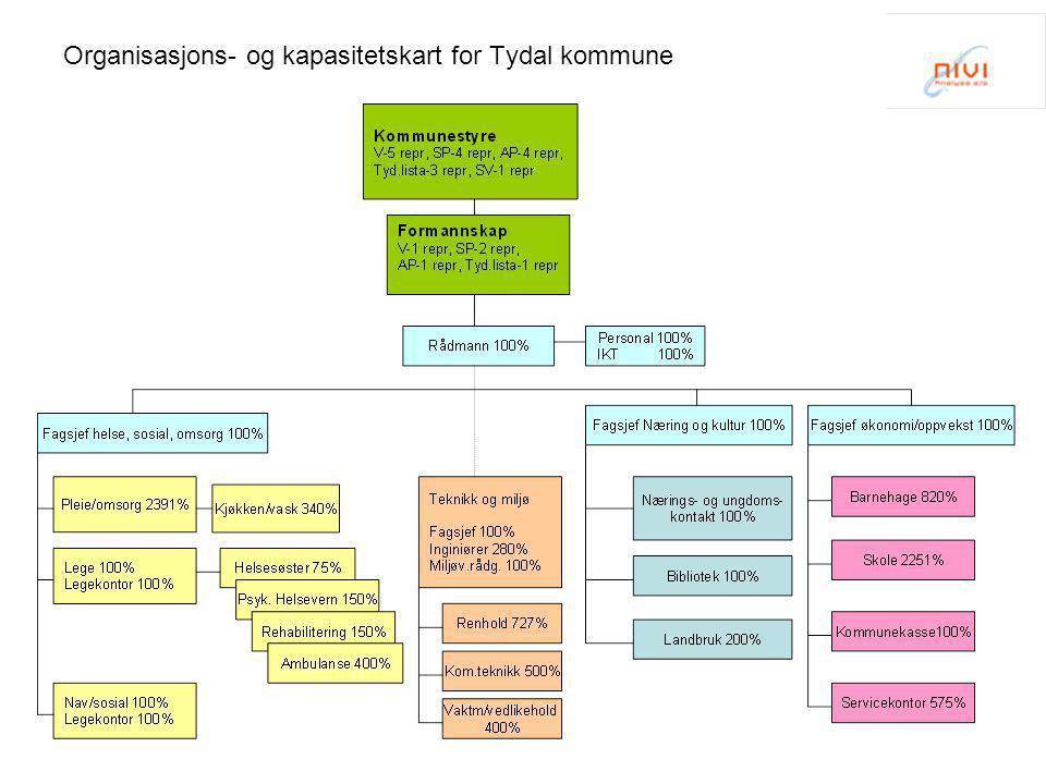 Organisasjons- og kapasitetskart for Tydal kommune
