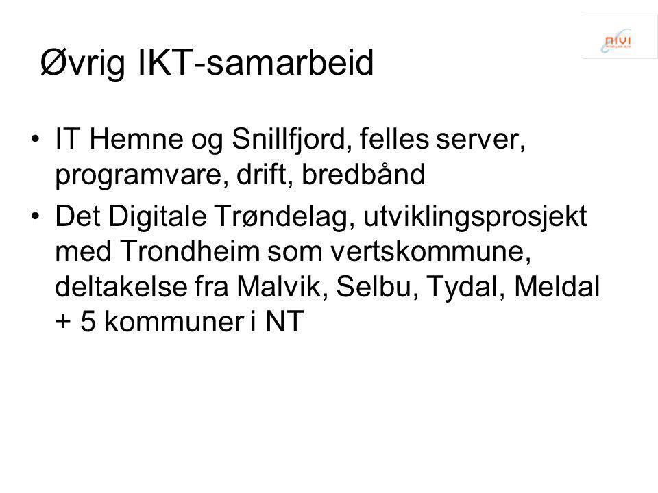 Øvrig IKT-samarbeid IT Hemne og Snillfjord, felles server, programvare, drift, bredbånd.
