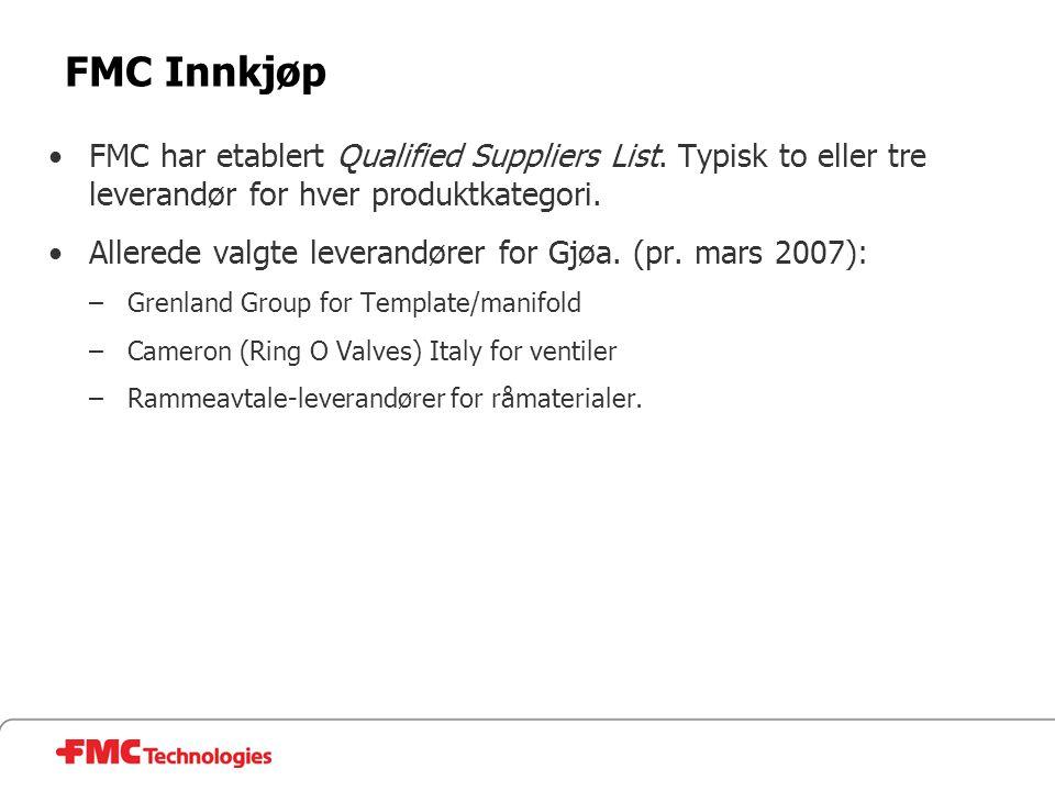 FMC Innkjøp FMC har etablert Qualified Suppliers List. Typisk to eller tre leverandør for hver produktkategori.