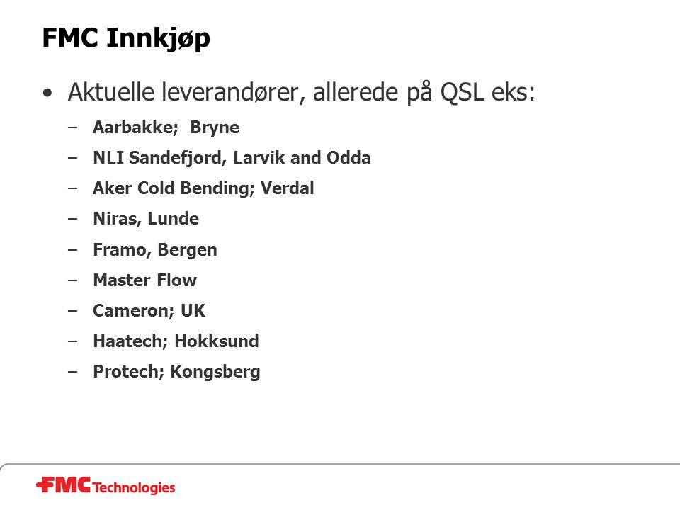 FMC Innkjøp Aktuelle leverandører, allerede på QSL eks: