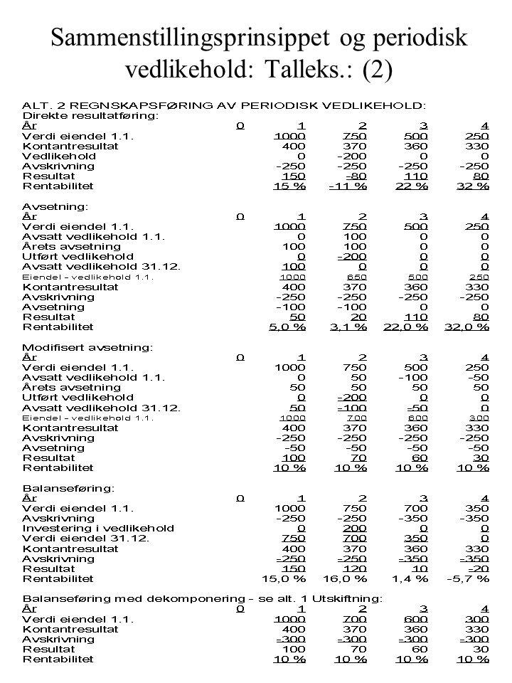Sammenstillingsprinsippet og periodisk vedlikehold: Talleks.: (2)