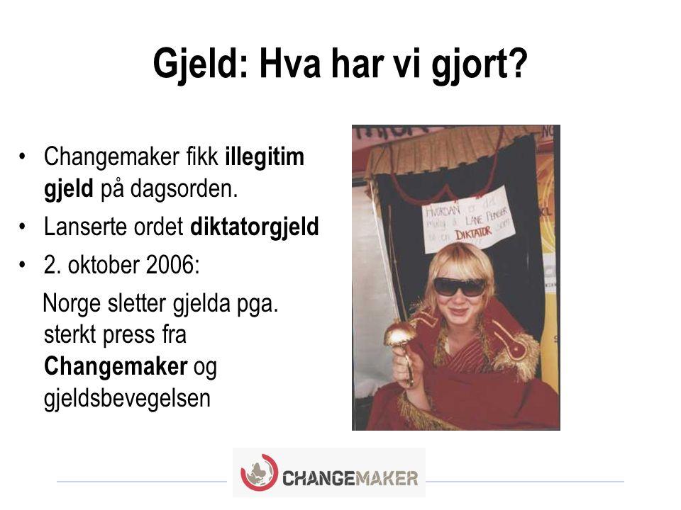 Gjeld: Hva har vi gjort Changemaker fikk illegitim gjeld på dagsorden. Lanserte ordet diktatorgjeld.