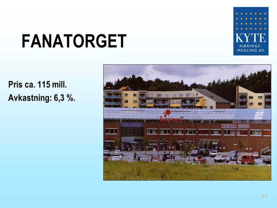 03.04.2017 FANATORGET Pris ca. 115 mill. Avkastning: 6,3 %.