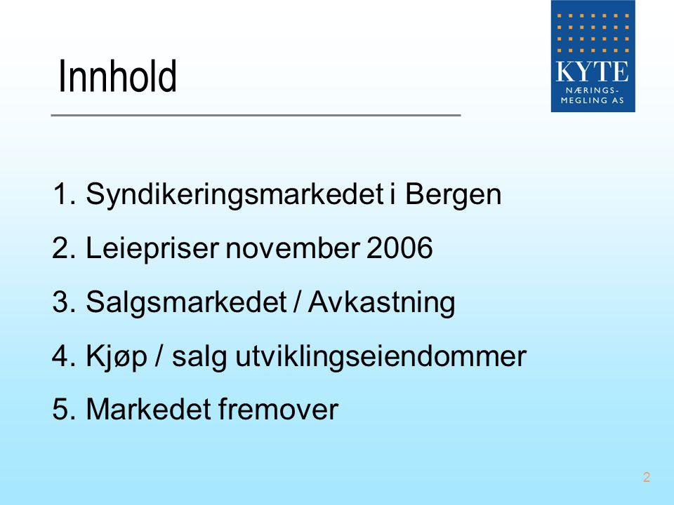 Innhold Syndikeringsmarkedet i Bergen Leiepriser november 2006