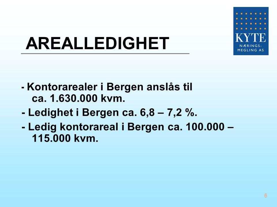 AREALLEDIGHET - Kontorarealer i Bergen anslås til ca. 1.630.000 kvm.