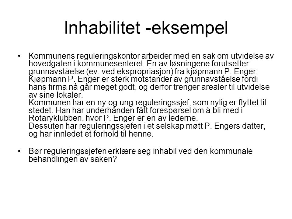 Inhabilitet -eksempel
