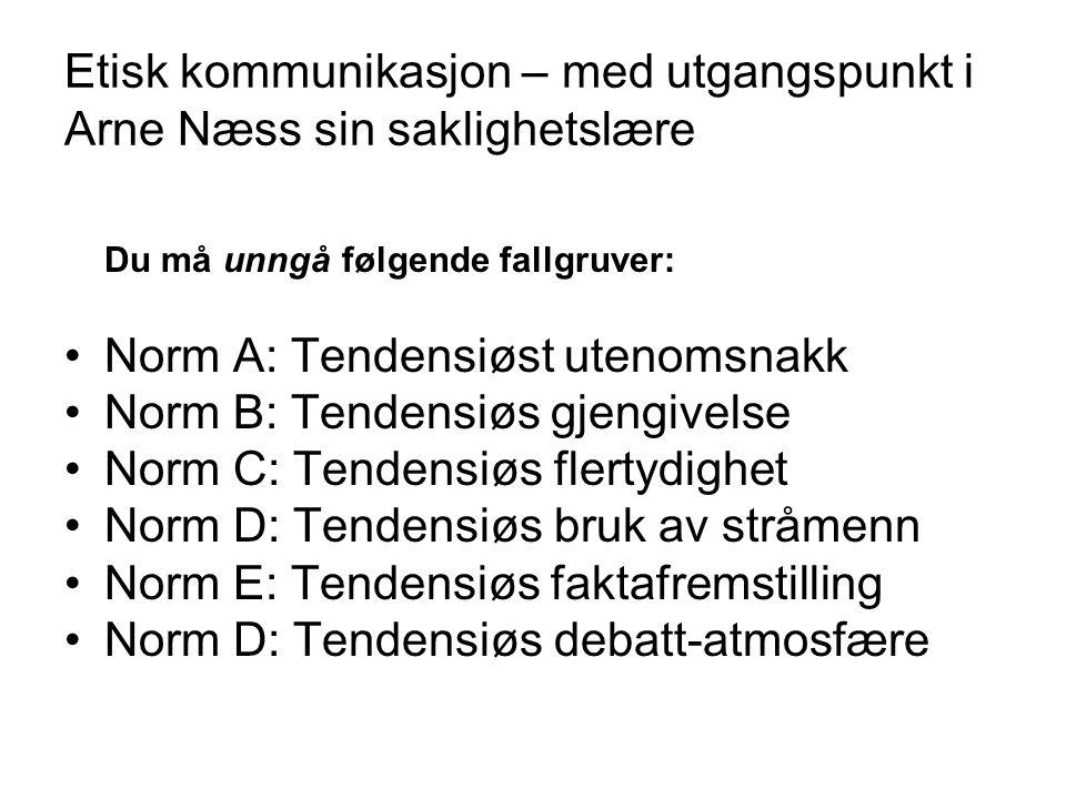 Etisk kommunikasjon – med utgangspunkt i Arne Næss sin saklighetslære