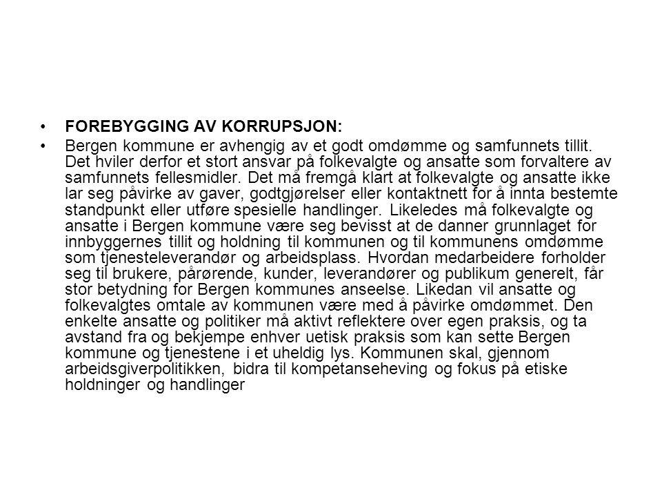 FOREBYGGING AV KORRUPSJON: