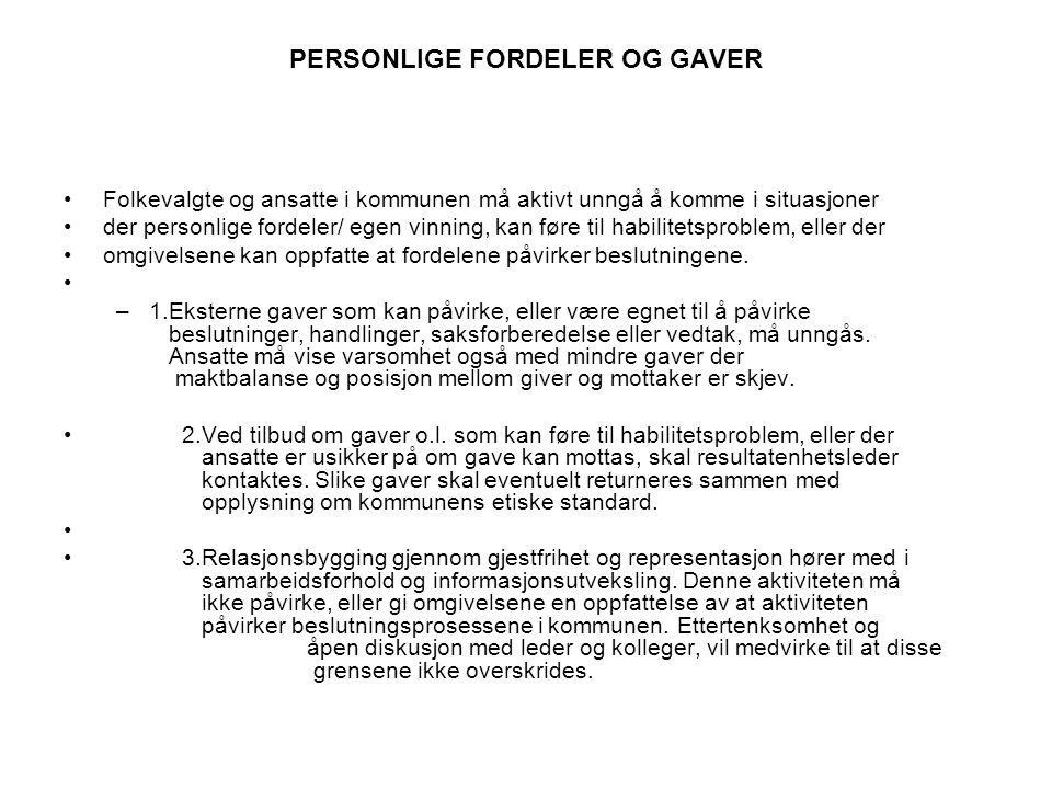 PERSONLIGE FORDELER OG GAVER