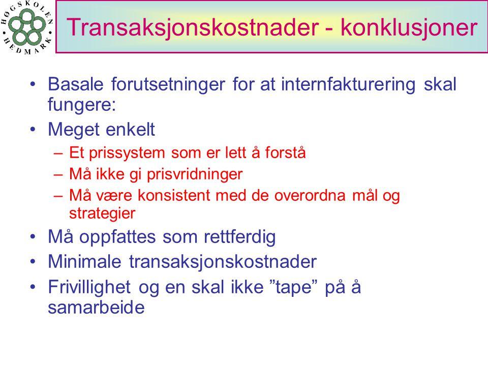 Transaksjonskostnader - konklusjoner