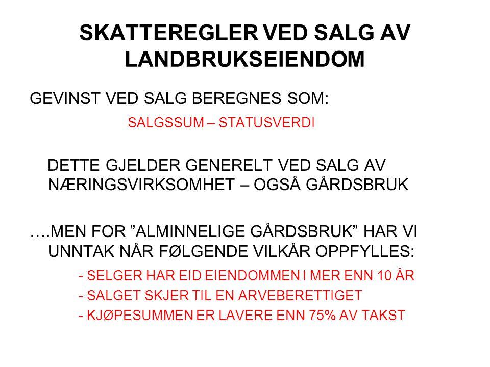 SKATTEREGLER VED SALG AV LANDBRUKSEIENDOM