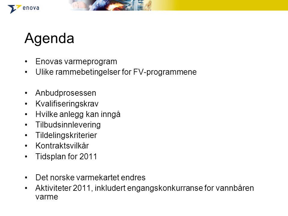 Agenda Enovas varmeprogram Ulike rammebetingelser for FV-programmene