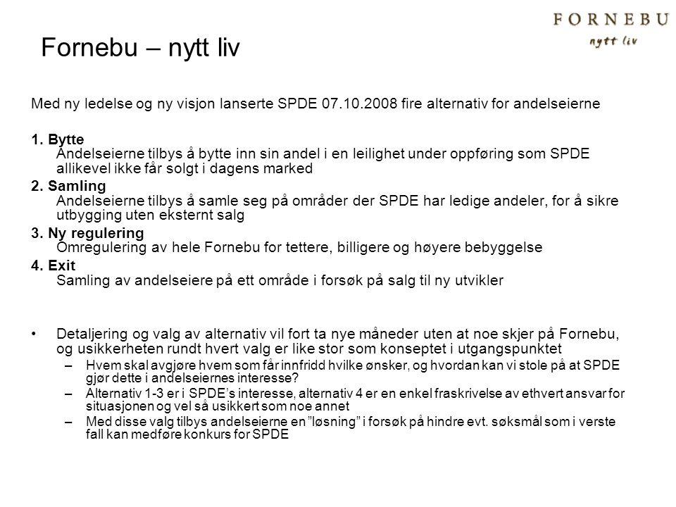 Fornebu – nytt liv Med ny ledelse og ny visjon lanserte SPDE 07.10.2008 fire alternativ for andelseierne.