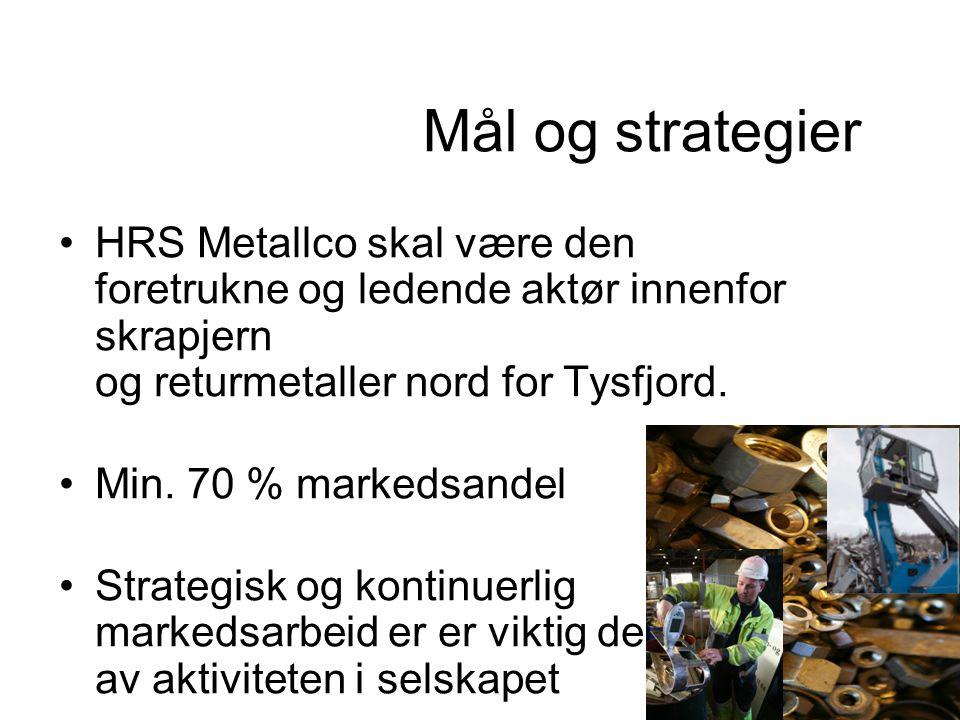 Mål og strategier HRS Metallco skal være den foretrukne og ledende aktør innenfor skrapjern og returmetaller nord for Tysfjord.