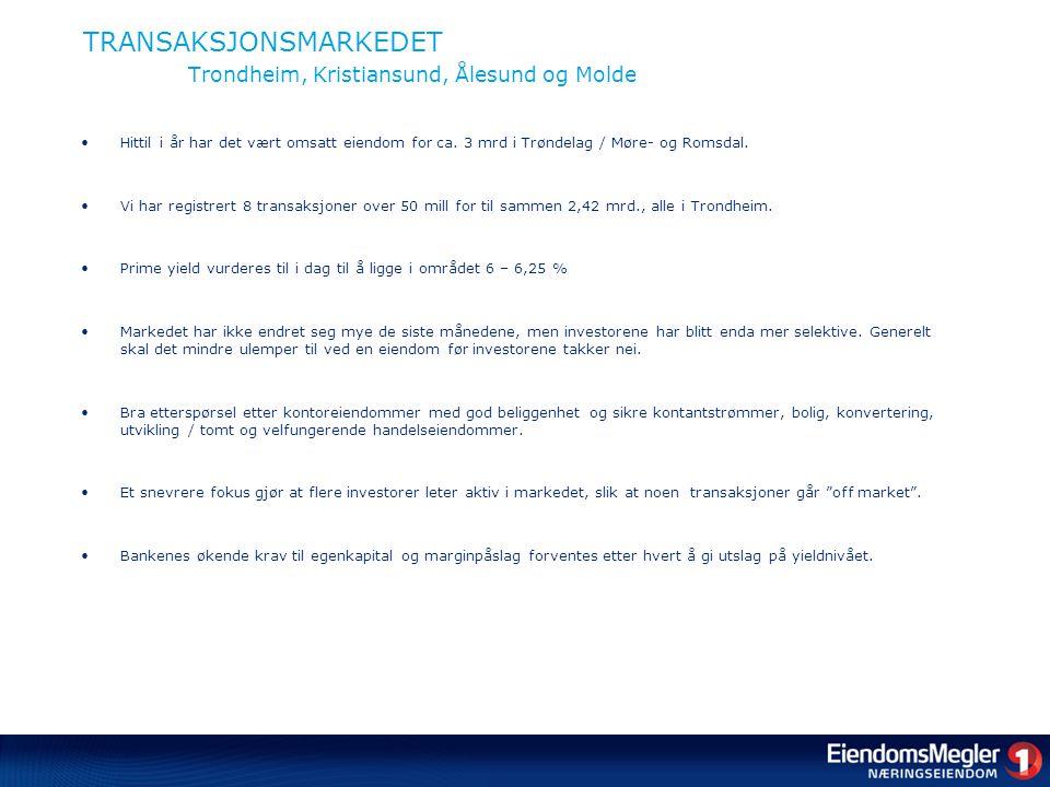 TRANSAKSJONSMARKEDET Trondheim, Kristiansund, Ålesund og Molde