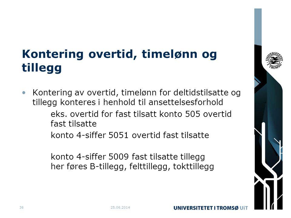Kontering overtid, timelønn og tillegg