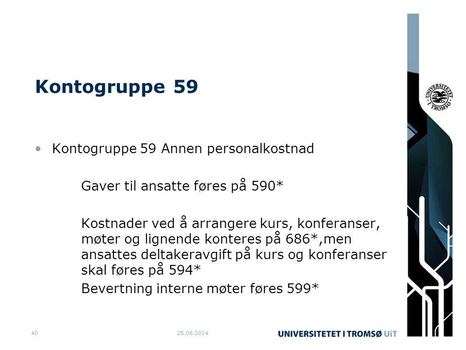 Kontogruppe 59 Kontogruppe 59 Annen personalkostnad