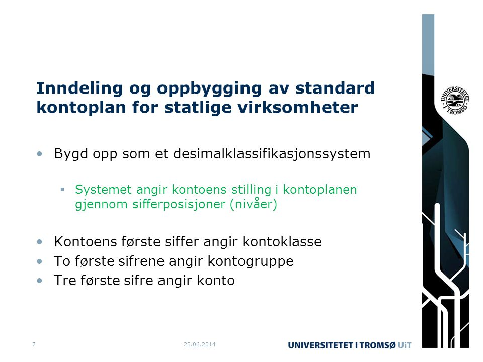 Inndeling og oppbygging av standard kontoplan for statlige virksomheter