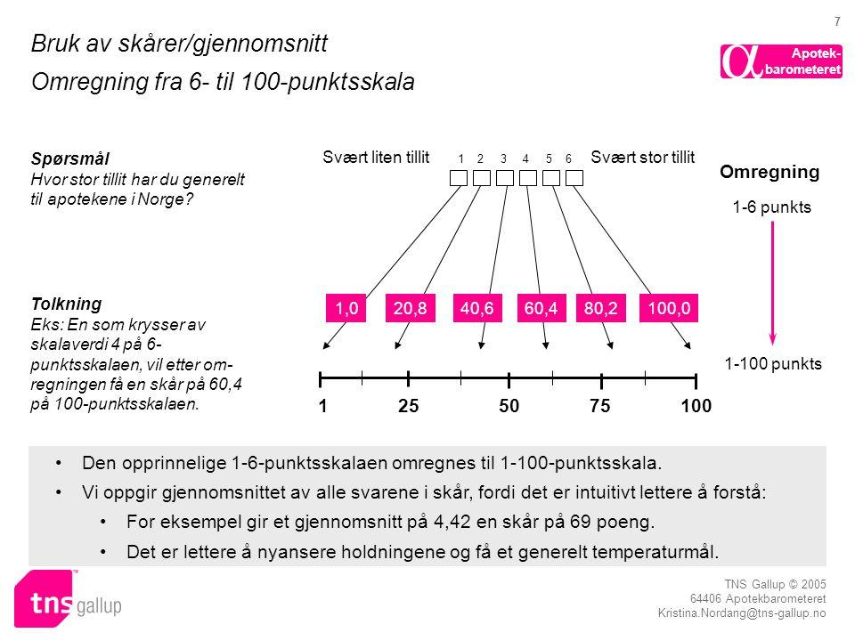 Bruk av skårer/gjennomsnitt Omregning fra 6- til 100-punktsskala