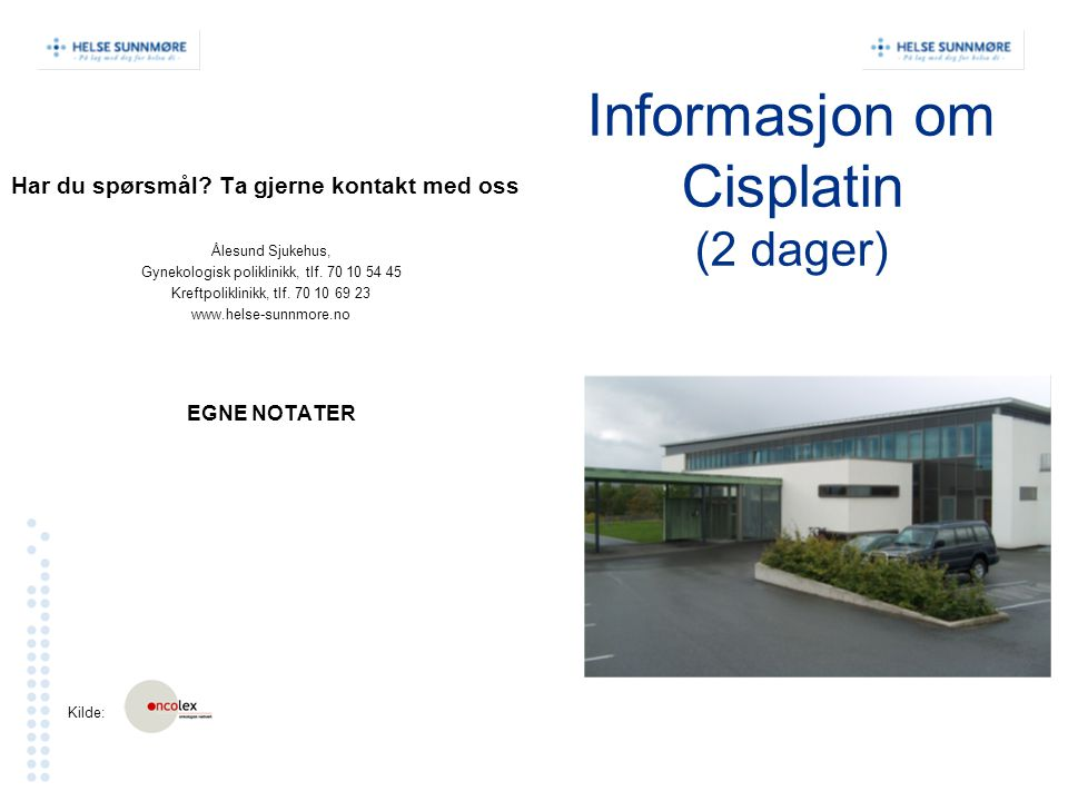 Informasjon om Cisplatin (2 dager)