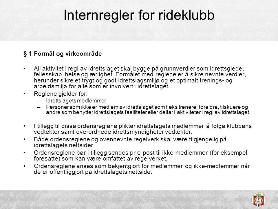 Internregler for rideklubb