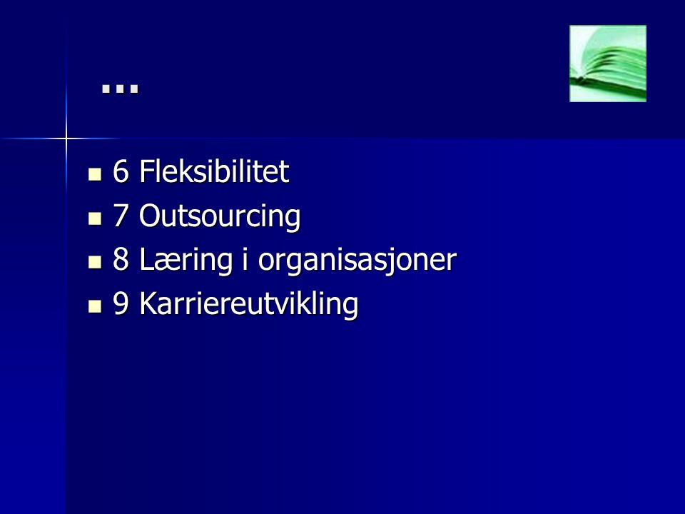… 6 Fleksibilitet 7 Outsourcing 8 Læring i organisasjoner