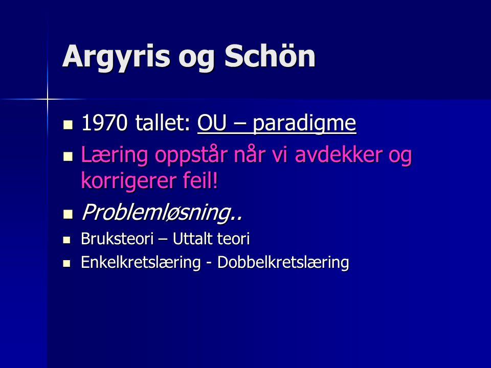 Argyris og Schön 1970 tallet: OU – paradigme
