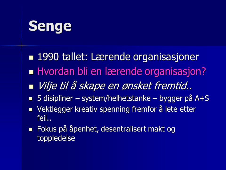 Senge 1990 tallet: Lærende organisasjoner