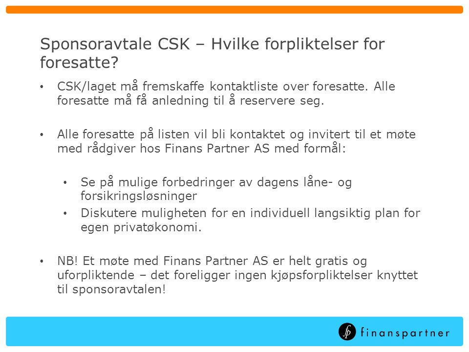 Sponsoravtale CSK – Hvilke forpliktelser for foresatte
