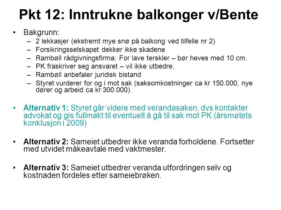 Pkt 12: Inntrukne balkonger v/Bente