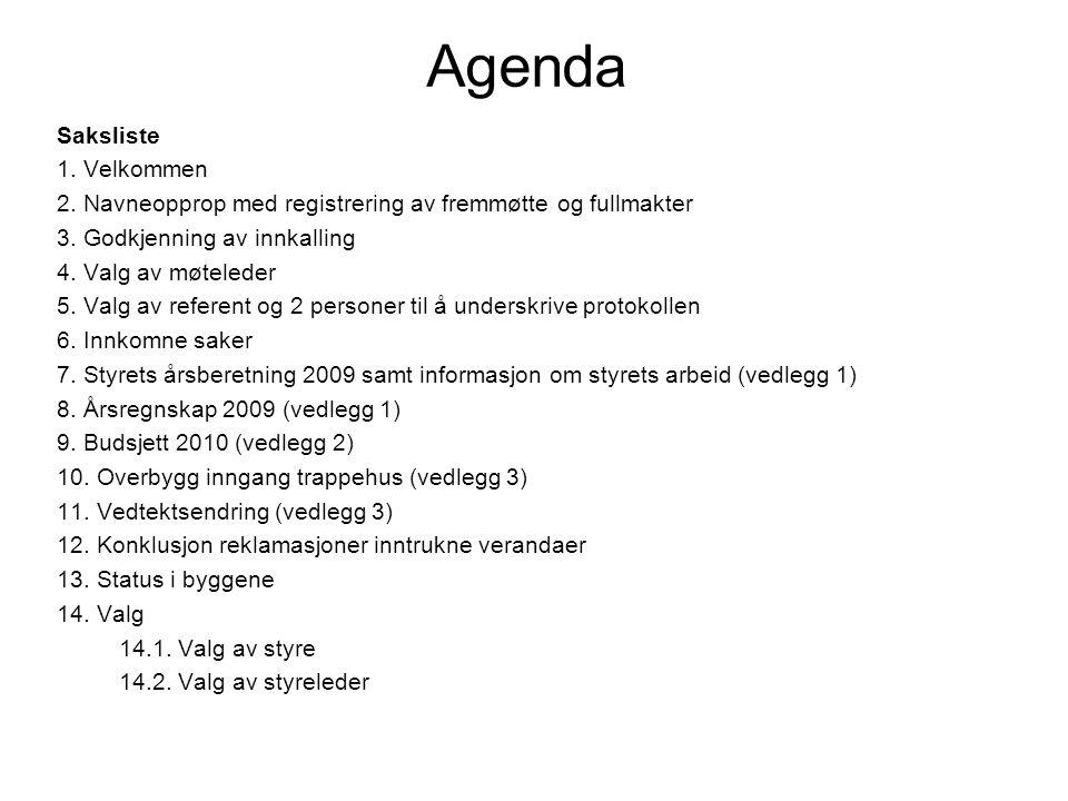 Agenda Saksliste 1. Velkommen