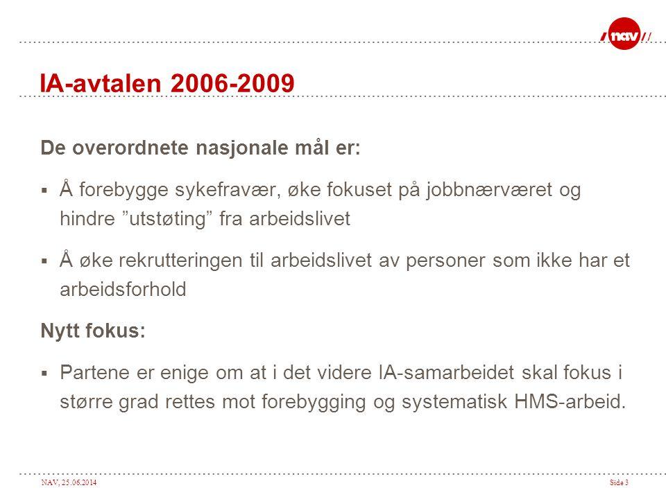 IA-avtalen 2006-2009 De overordnete nasjonale mål er: