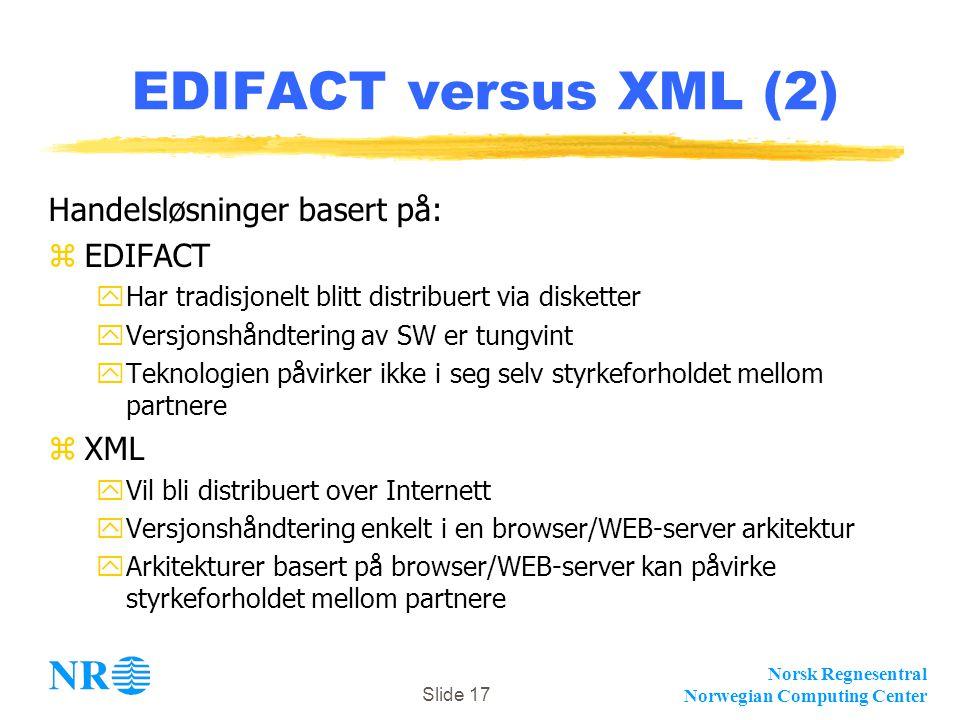 EDIFACT versus XML (2) Handelsløsninger basert på: EDIFACT XML