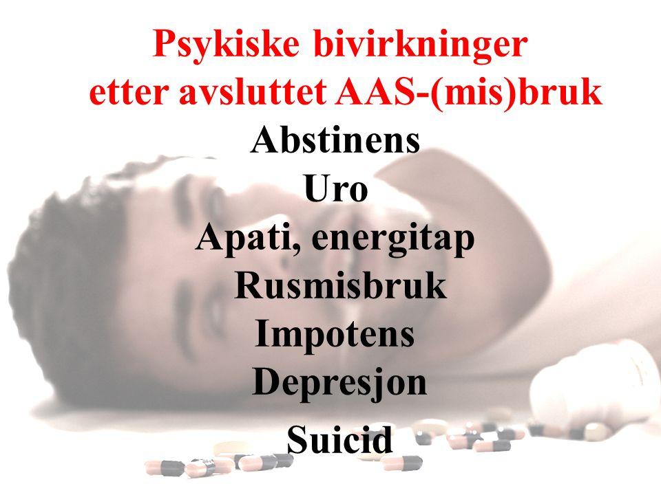 Psykiske bivirkninger etter avsluttet AAS-(mis)bruk
