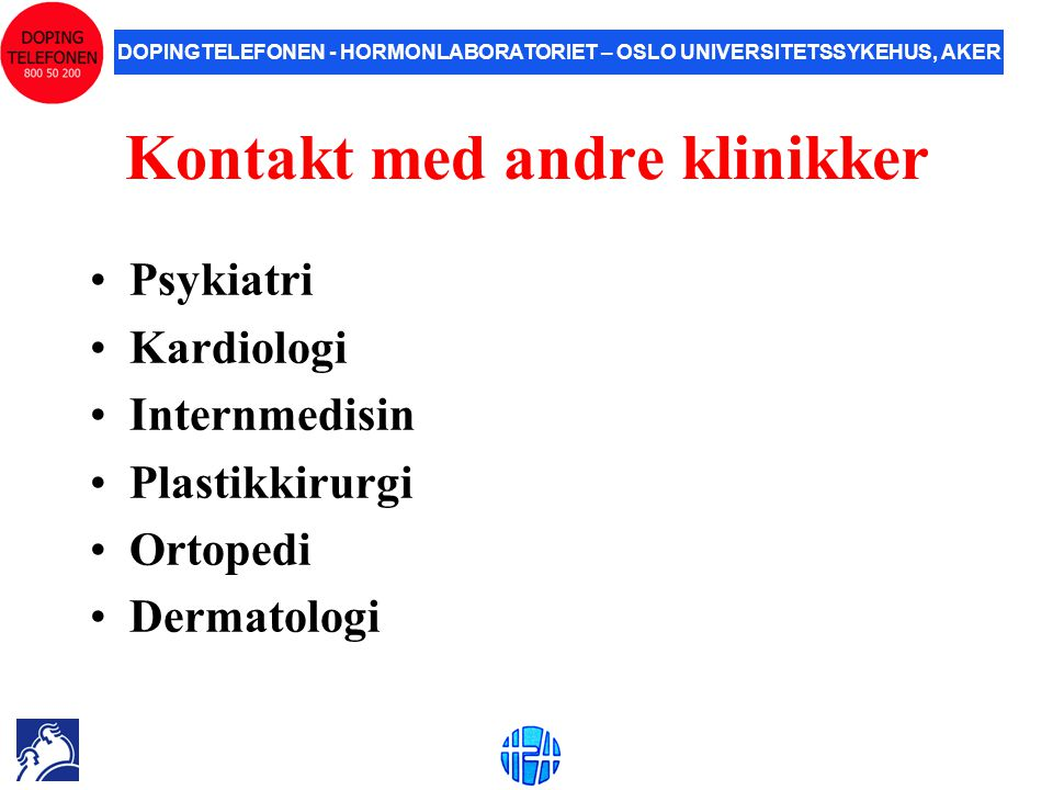 Kontakt med andre klinikker