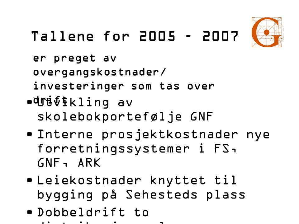 Tallene for 2005 – 2007 Utvikling av skolebokportefølje GNF