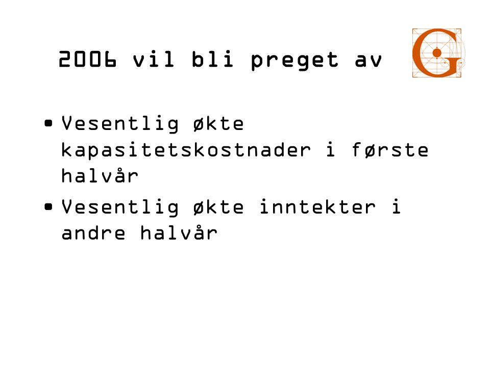 2006 vil bli preget av Vesentlig økte kapasitetskostnader i første halvår.