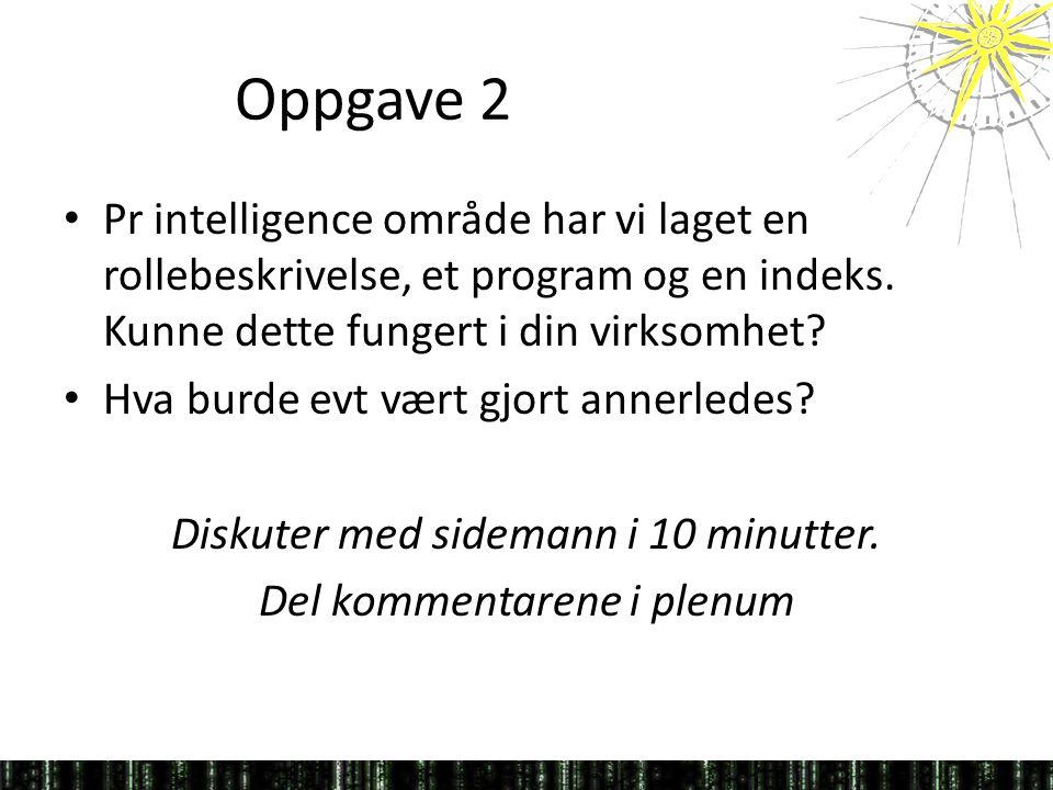 Oppgave 2 Pr intelligence område har vi laget en rollebeskrivelse, et program og en indeks. Kunne dette fungert i din virksomhet