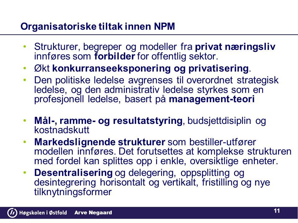 Organisatoriske tiltak innen NPM