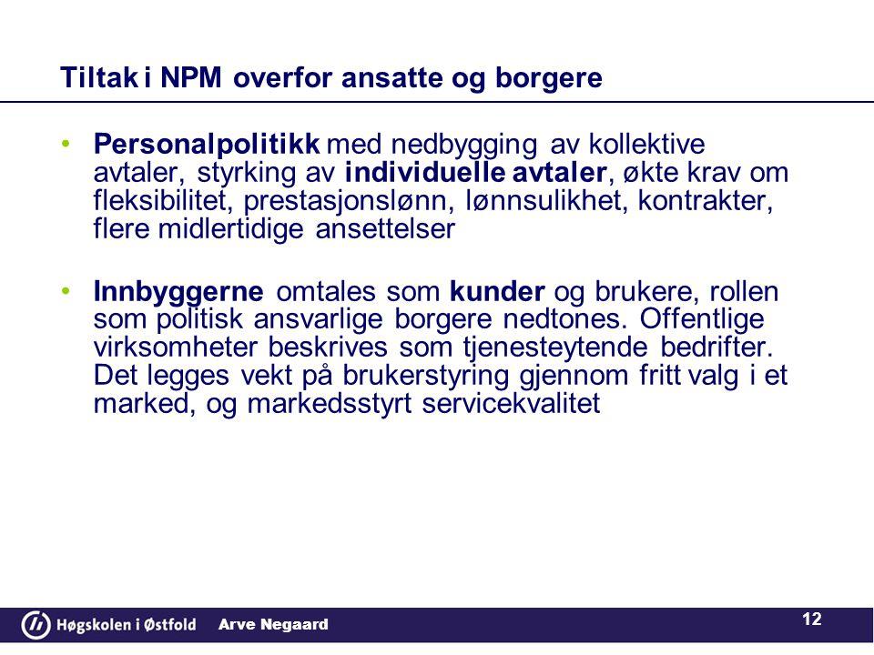Tiltak i NPM overfor ansatte og borgere